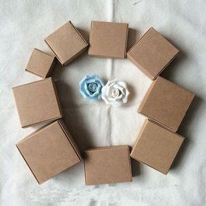 Party Gift Wrap 7.5X7.5x3CM Petit Kraft brun papier Boîte en carton Boîtes d'emballage pour Accessoires de téléphone de bonbons mariage GIFT