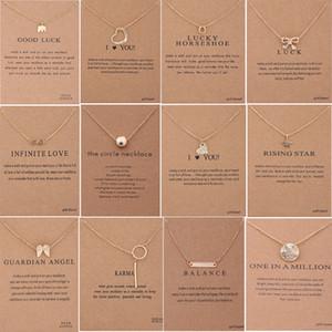60 أنماط قلادة dogeared الاختناق مع بطاقة ذهبية فضية اللون حسن الحظ الفيل قلادة نوبل المختنق هدية عيد الحب
