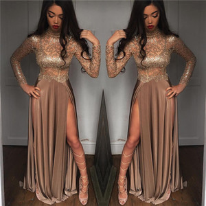 2k19 New Black Girls scintillanti Paillettes Sheer Maniche lunghe Prom Dresses Collo alto Split Abiti da sera partito formale BA6620