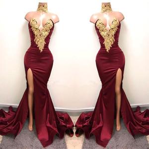 2019 Nuevos vestidos de fiesta de fiesta en color borgoño árabe sexy Vestido de noche Con encaje de oro Sirena aplique Frente Split 2K19 Vestidos elegantes de fiesta formal