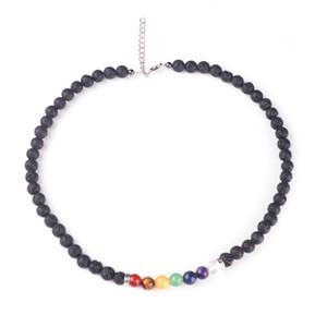 Multicolor Pedra Natural Colar De Pedra De Lava Rainbow Yogo 7 Chakra Ametista Contas Colares Amuleto Jóias Presente de Natal