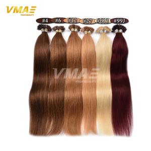 VMAE Pré ligado prego queratina extensões do cabelo Remy Cabelo Humano U Tip não transformados Hair Extension 1B 613 # 27 # Blond queratina Glue peruca
