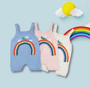 INS Novo Outono Bebê Meninas Dos Desenhos Animados Rainbow Rompers Crianças Criança Emboridery Malha Rompers Bebês Camisola de Algodão Suspender Calças 3376
