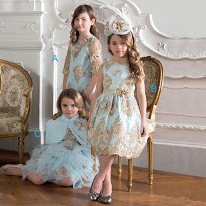 귀엽고 밝은 파란색 O - 넥 민소매 무릎 길이 A - 라인 꽃 아가씨 드레스와 골드 Appiques 어린이 정식 Wear