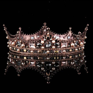 바로크 빈티지 블랙 라인 석 비즈 라운드 빅 크라운 웨딩 헤어 액세서리 럭셔리 크리스탈 퀸 킹 크라운 브라 Tiaras