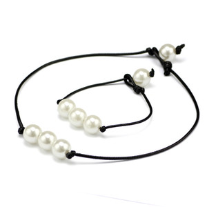 Brand New Women 's Fashion Hand Made haute brillance perles d'eau douce chaîne de corde en cuir Simple et élégant Bracelet Collier