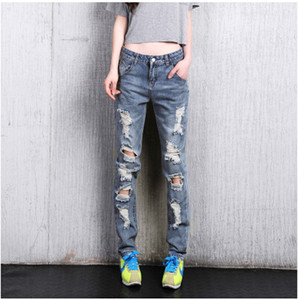 Wholesale- Women's loose plus large size ripped jeans Lady's boyfriend jeans for women Female casual hole denim pants Free shipping