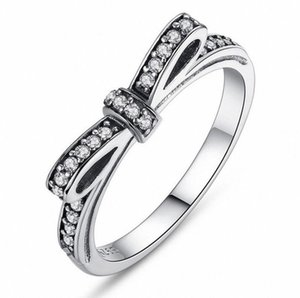 Brand Desgin Luxury Jewelry 925 Sterling Silver White Sapphire CZ Diamond Gemstones Birthstone Wedding Women Bow Ring Gift Size 5 6 7 8 9