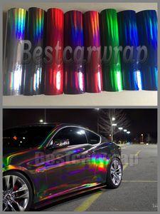 Film de vinyle holographique de diverses couleurs de chrome pour l'emballage de voiture avec la bulle d'air Film de chrome libre d'enveloppe de caméléon d'arc-en-ciel 1,52x20m / 5x67ft
