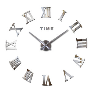 Wholesale-2016 hot fashion quartz watch home decor limited sale 3d big mirror diy real wall clock modern design room gift free shipping