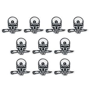 10 PZ coltello morso distintivo del cranio patch per abbigliamento ferro moda patch per vestiti applique accessori per cucire adesivi su stoffa ferro sulla zona