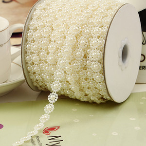 10mm Manual Sunflower Imitation Pearl Chain DIY Crafts Wedding Jewelry Garment Accessories Ivory and White DHL Shipping Free