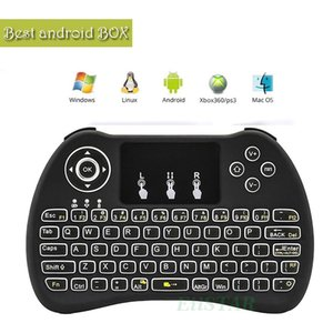 Taşınabilir Aydınlatmalı Fly Fare H9 2.4 GHz Kablosuz Mini Klavye PC Smart TV Android Için Touchpad Fare Ile TV Kutusu