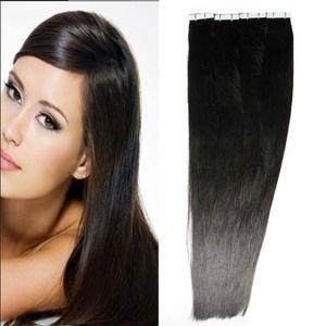استخدام الشعر البشري 200g الشريط اللون الطبيعي في الشعر التمديد الإنسان 80 جهاز كمبيوتر شخصى على التوالي البرازيلي بو الجلد لحمة الشعر