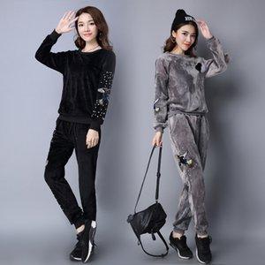 Wholesale- Women Winter High Quality Velvet Suit Women's  Sequin Phoenix Casual 2 Piece Suit Pants Sportswear velour Tracksuit