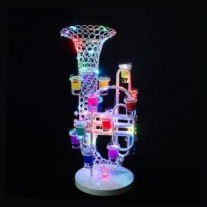Дешевые продажа световой загораются светодиодные саксофон кубок вина стенд держатель для День Рождения ночной бар клуб питания