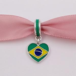 925 Silberperlen Brasilien-Herz-Flagge mit Emaille Passend europäische Pandora Style Armband-Halskette für Schmuck machen 791911ENMX
