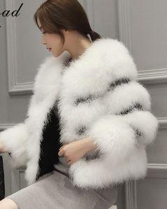 Automne hiver nouveaux épaississement luxe coton rembourré fourrure d'autruche naturelle des femmes court manteau patchwork cuir PU Casacos fourrure S-XXL