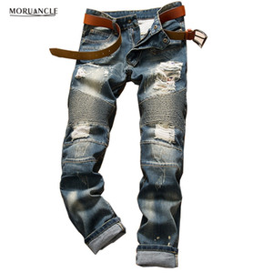 Wholesale- 2020 Mens Ripped Biker Jeans Fashion Distressed Denim Joggers For Man Streetwear Destroyed Moto Jeans Pants Trousers