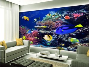 3d room wallpaper custom photo mural undersea world fish sea pavilion painting background home decor 3d wall murals wallpaper for walls 3 d