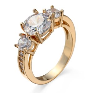 White Clear CZ Zircon Gems 10KT Yellow Gold Filled Ring Engagement Wedding Promise Ring Sz6-10