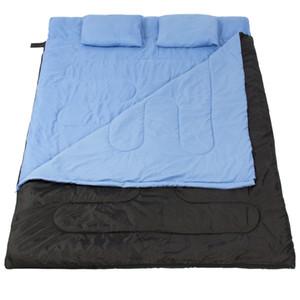 """/ 2 Yastıklar Yeni W Büyük Çift Uyku Tulumu 23F / -5C 2 Kişi Kamp Yürüyüş 86 """"x60"""""""