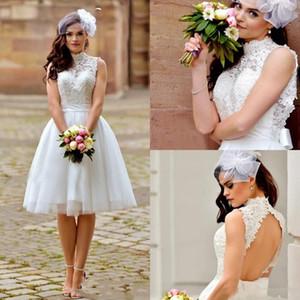 2017 짧은 미니 웨딩 드레스 높은 목 레이스 Appiques Illusion Sashes 할로우 백 비치 보헤미안 방패 Tulle Plus Size Bridal Gowns