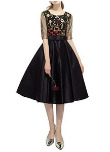 New Hot Selling Scoop Short Cocktail Dress A Line Half Sleeve Colorful Sash Knee Length Formal Evening Party Gowns Black Printed Petal Power