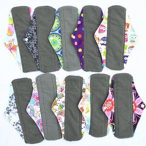 "[Sigzagor]CHARCOAL BAMBOO Cloth Menstrual Sanitary Maternity Mama Pads Reusable Washable 10"" Regular Light Flow,Medium,M 18 Choice"