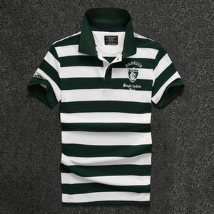 2017 NUEVOS hombres camiseta de la manera de la raya de la solapa bordado letra camisa delgada de los hombres top venta caliente camisa de manga corta diseñador pure T shir