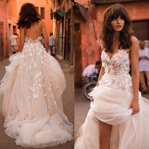 2018 Abiti da sposa Boho con gonna a fiori con scollo a V floreale con scollo a V e maniche lunghe in rilievo