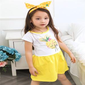 2017 Meistverkaufte Nette Mädchen Ananas Baumwolle Sommer Kurzes Kleid Candy Farbe Süße Kinder Western Urlaub Kleider