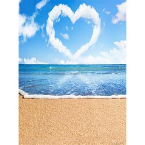Amor romântico Coração Forma Nuvem Céu Azul Praia Tropical Pano De Fundo Temático Sandy Floor Férias De Verão Seaside Cenários De Fotografia De Casamento