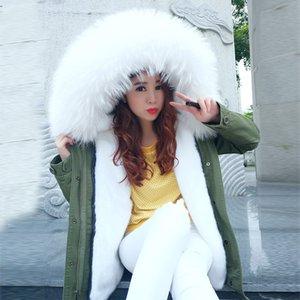 Marka 2017 Yeni stree stil asker yeşili kış ceket palto kadın parkas mujer büyük gerçek kürk doğal rakun kürk yaka kapüşonlu