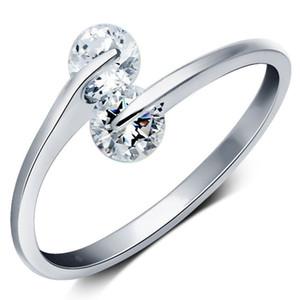 Hot banhado a prata zircão duplo Rhinestone abertura anéis ajustável presente
