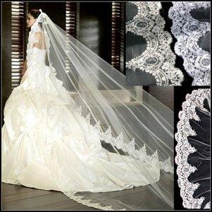 웨딩 드레스 럭셔리 화이트 / 아이보리 웨딩 베일 신부 베일 레이스 Appliqued 3 미터 성당 긴 베일
