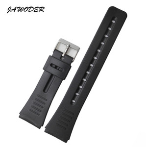 JAWODER Watchbands 18 20 22mm Black Silicone Rubber Watch Band Strap Pin Buckle for Casio Sports Watch Straps