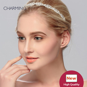 Crystal headpiece accesorios de la novia del Rhinestone de plata accesorios para el cabello cristales tiaras de novia perlas pelo Tiara de la boda accesorio para la venta
