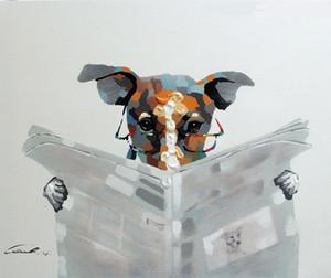 Emoldurado cão lendo jornal artigo Terrier Specs, genuíno Handpainted Cartoon arte canina pintura a óleo Canvas, qualidade do Museu Multi tamanho J68!