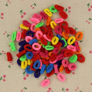 Wholesale- 200 Pz Colorful Child Kids Hair Holders Cute Rubber Hair Band Elastici Accessori Girl Women Charms Tie Gum