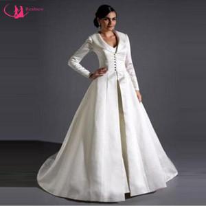 Atacado manga comprida casamento do Cabo até o chão Bridal Manto Custom Made Botão de Marfim Manto casamento