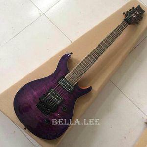 Фиолетовая стеганая гитара с кленовой крышкой, 7-струнная электрическая гитара «Зебра», сделано в Китае
