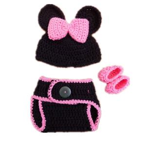 Costume de bébé fille adorable dessin animé souris, bonnet animal tricoté à la main au crochet, couvre-couche et chaussures, nouveau-né Halloween Photo Prop
