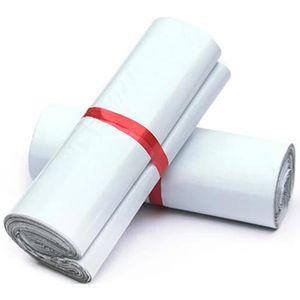 20 * 35 cm Branco poli mailer envio de sacos de embalagem de plástico produtos de correio por fontes de armazenamento Courier mailing autoadesivo bolsa pou Lot