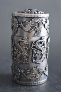 Argent à collectionner Tibet Silver Carve Dragon Phoenix Noble cure-dents