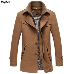 Al por mayor- Dophee 2017 otoño e invierno nuevos hombres de lana larga capa de color sólido de la marca de lana gruesa chaqueta de mezcla casual abrigos