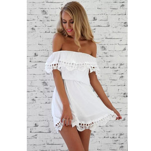 Moda donna Elegante vintage pizzo dolce abito bianco elegante sexy slash collo casual spiaggia sottile estate vestito estivo vestidos