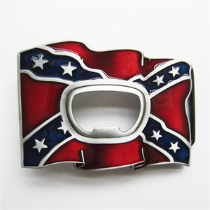 New Vintage Enamel Beer Bottle Opener Confederate Rebel Flag Rectangle Belt Buckle Gurtelschnalle Boucle de ceinture BUCKLE-OC032