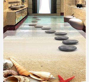 tamaño de alta calidad Personalizar moderna playa estrellas de mar baño de piedra concha piso 3D azulejos fondo de pantalla a prueba de agua para la pared del baño