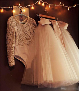2020Two Pieces Evening Dresses Long Tutu Tulle Ribbon Lace Long Sleeve Prom Dresses Customized Modest Formal Dresses Party Evening Gowns